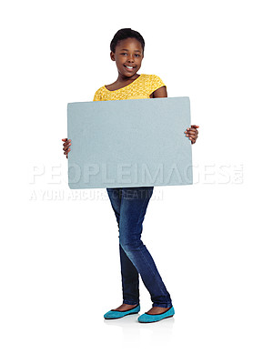 Buy stock photo Full length studio shot of an african teenage girl holding a blank board