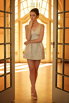 Buy stock photo Full length portrait of a beautiful young woman wearing an elegant dress indoors