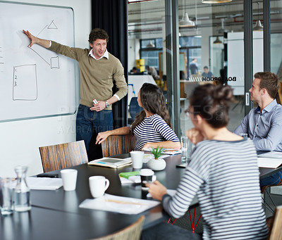 Buy stock photo Shot of a group of colleagues watching a presentation in a boardroom