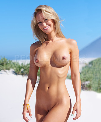 Fit women naked on beaches