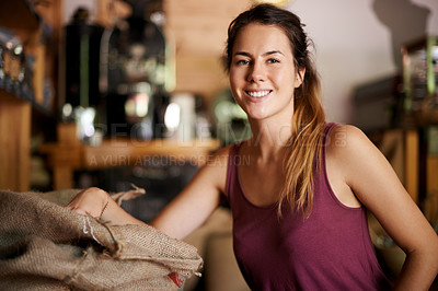 Buy stock photo Portrait of a beautiful woman smiling proudly in her natural products store