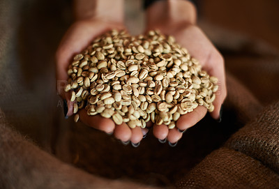 Buy stock photo Closeup of hands holding fresh raw coffee beans