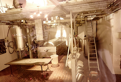 Buy stock photo Shot of the workings of a microbrewery
