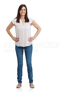 Buy stock photo Full length studio portrait of an attractive mature woman standing with arms akimbo