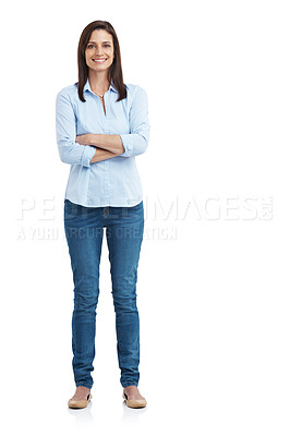 Buy stock photo Full length studio portrait of an attractive mature woman standing with her arms crossed