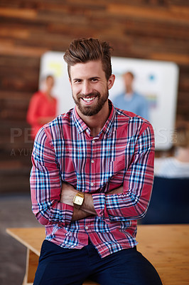 Buy stock photo Portrait of a young male designer in a casual work environment