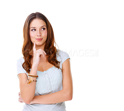 Buy stock photo A young woman thinking against a white background