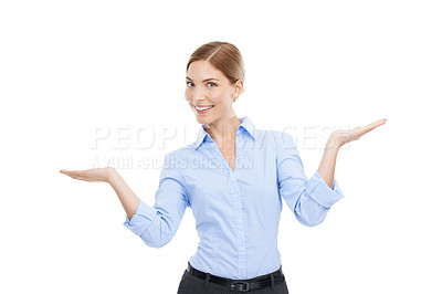 Buy stock photo Studio shot of a beautiful young businesswoman showing you copyspace against a white background