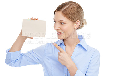 Buy stock photo Studio shot of a beautiful young businesswoman holding a small blank card against a white background