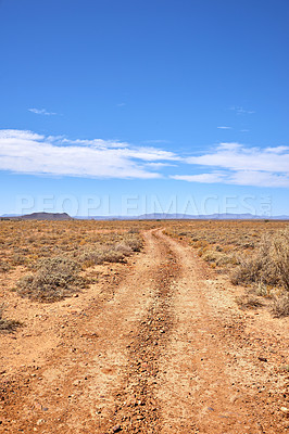 Buy stock photo Dirt road through highland savanna - South Africa
