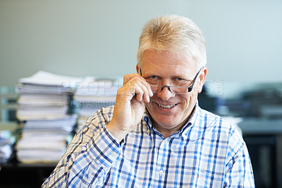 Buy stock photo Portrait of a senior businessman in his office
