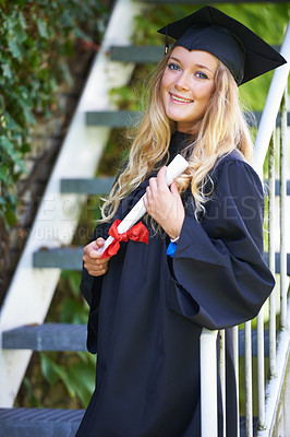 Buy stock photo A young woman on graduation day