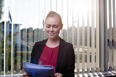 Buy stock photo Cropped shot of an attractive businesswoman reading documents in the office