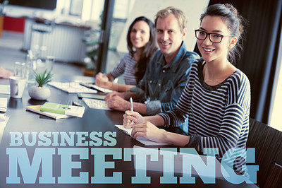 Buy stock photo Cropped portrait of people in a business meeting behind text