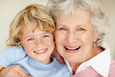 Buy stock photo Closeup portrait of a grandson and grandmother smiling