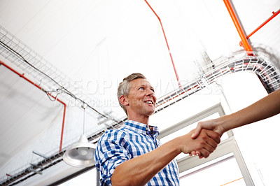 Buy stock photo A mature businessman shaking hands with a coworker at the office