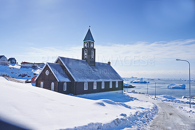 Buy stock photo A photo of the national church of Greenland, Denmark.