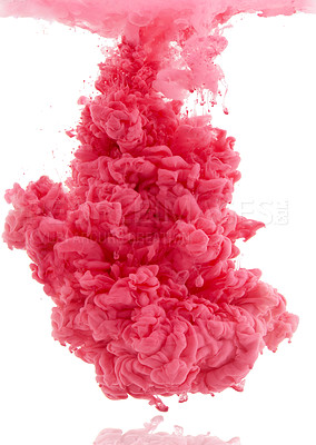 Buy stock photo Studio shot of pink ink in water against a white background
