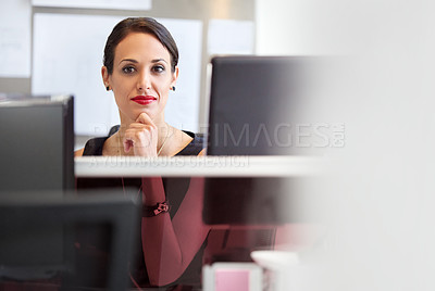 Buy stock photo Shot of a businesswoman at work in an office