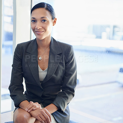 Buy stock photo Portrait of an attractive young businesswoman at her workplace