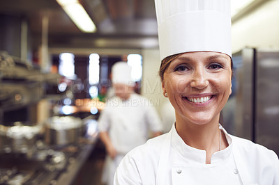 Buy stock photo Portrait of a chef in a professional kitchen