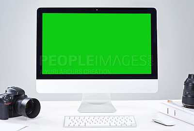 Buy stock photo Shot of a desktop PC with a green screen