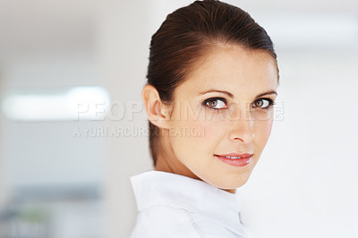 Buy stock photo Portrait of a cute young female business executive at office