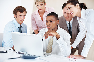 Buy stock photo Group of businesspeople working together on laptop for futuer development on business