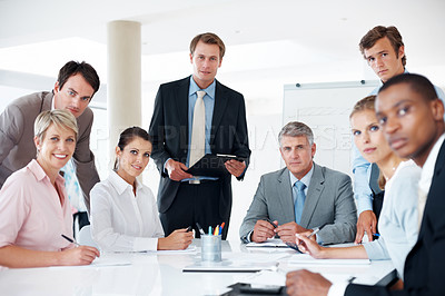Buy stock photo Business group meeting portrait - Successful businesspeople sitting together in meeting