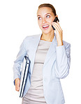 A young business woman talking on cellphone and holding laptop