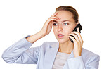 Worried young business woman speaking over cellphone on white