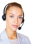 Closeup of a cute female using a headset on white