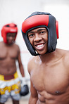 African American male boxer smiling