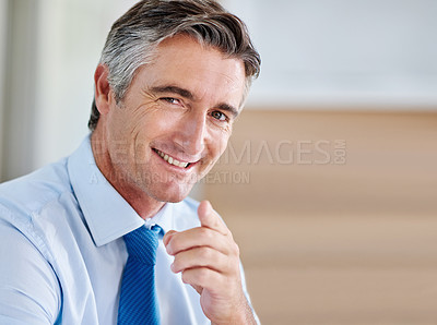 Buy stock photo Portrait of a smiling mature businessman pointing at the camera