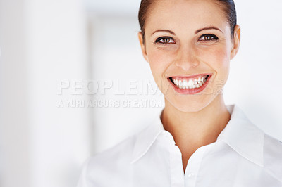Buy stock photo Portrait of a beautiful young business woman smiling