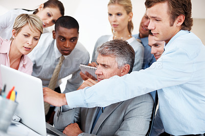 Buy stock photo Portrait of a team of busy office people working on laptop computer