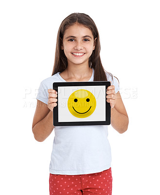 Buy stock photo A little girl holding a digital tablet with the screen showing a smiley face