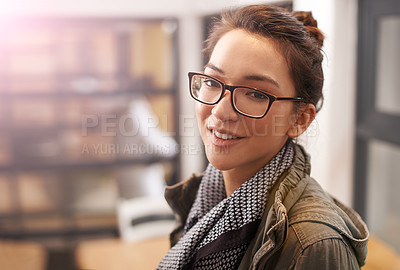 Buy stock photo Portrait of a young woman wearing glasses