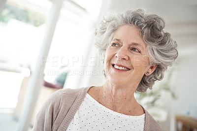 Buy stock photo Cropped shot of a senior woman at home