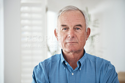 Buy stock photo Cropped portrait of a senior man at home