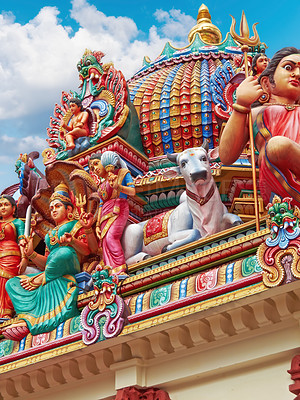 Buy stock photo Fragment of decorations of the Hindu temple Sri Mariamman in Singapore
