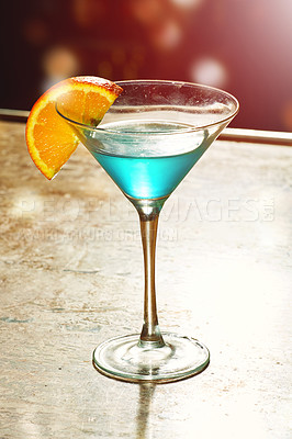 Buy stock photo Shot of a single cocktail on a table in a nightclub