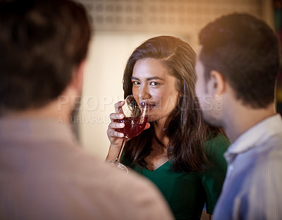 Buy stock photo Shot of a group of people in a bar