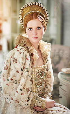 Buy stock photo Portrait of an elegant noble woman in her palace room
