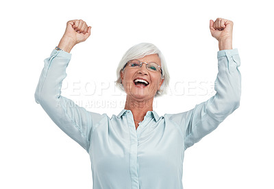 Buy stock photo Studio shot of an excited senior woman isolated on white
