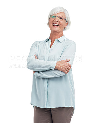 Buy stock photo Studio shot of a senior woman isolated on white