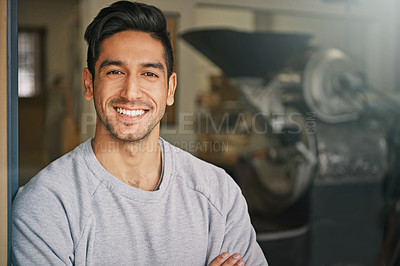 Buy stock photo Cropped shot of a young man standing in the doorway of his coffee shop