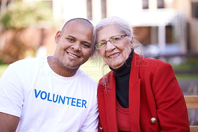 Buy stock photo Shot of a volunteer worker with a senior woman