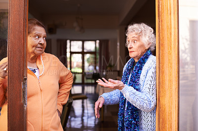 Buy stock photo Cropped shot of two senior women having a conversation