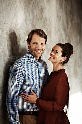 Buy stock photo Studio portrait of a happy couple
